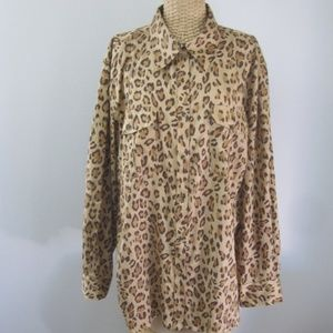 Ralph Lauren Plus 2X Animal Print LS Cotton Shirt